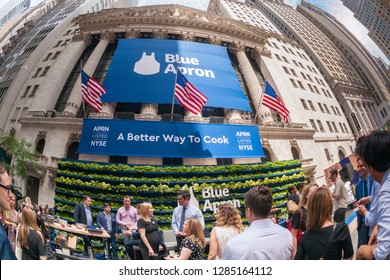 New York NY/USA June 29, 2017 Broad Street in front of the NYSE is agog with activity during the ceremony for the initial public offering of Blue Apron Holdings, a meal-kit delivery service