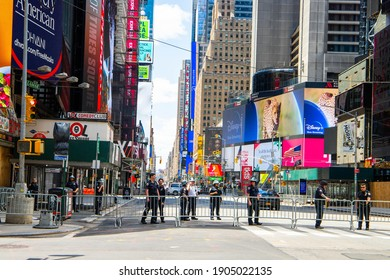 New York, NY,USA - June 7,2021.Police  protecting the Times Square  during pandemic of COVID-19  from protesters gathering in the downtown area from organization Black Lives Matter