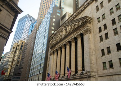 NEW YORK, NY/USA - March 11,2019  New York Stock Exchange .View from the side