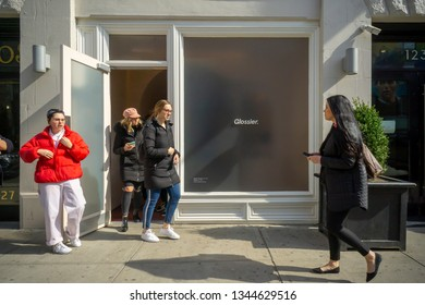 New York NY/USA March 20, 2019 Millennials leave the Glossier brick-and-mortar store in Soho in New York.