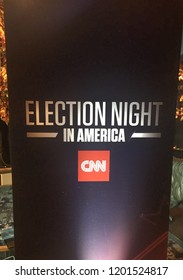 New York, NY/USA - November 8, 2016: CNN election night watch party in NYC