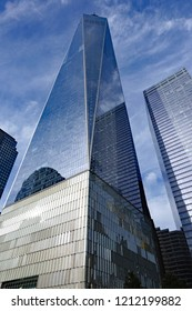 NEW YORK, NY/USA - OCTOBER 19, 2018:  One World Trade Center in Manhattan, in New York City, the tallest building in the Western Hemisphere.