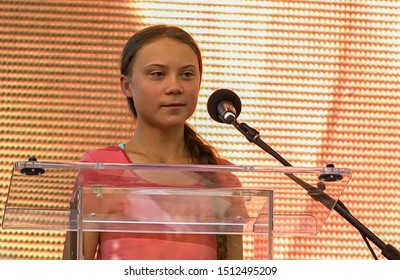 New York, NY/USA - Sept. 20, 2019: Swedish climate activist Greta Thunberg addresses the crowd of marchers participating in the Global Climate Strike.
