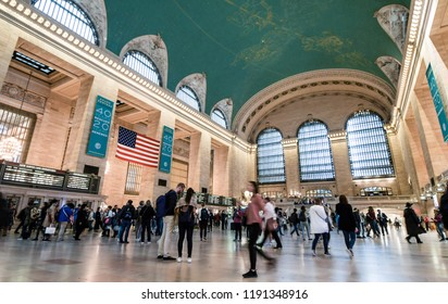 New York, N.Y./USA - Sept. 28, 2018: Pedestrians rush through Grand Central Station on a busy Friday morning.
