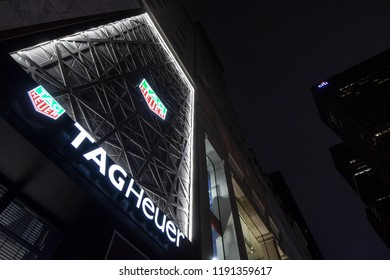 New York, N.Y./USA - Sept. 28, 2018: The Tag Heuer store on 5th Ave in New York City at night.