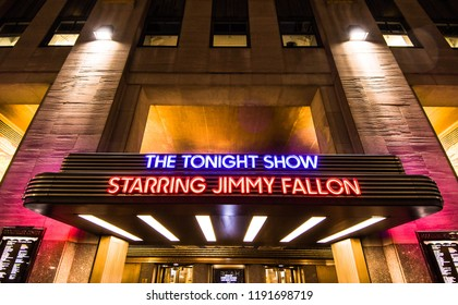 New York, N.Y./USA - Sept. 29, 2018: The marquee for The Tonight Show with Jimmy Fallon outside Rockefeller Center at night