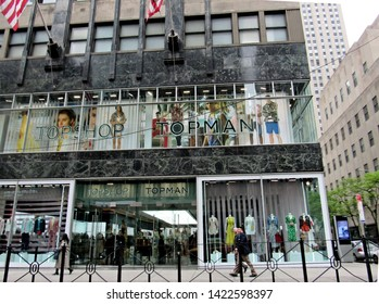New York, NY/USA-5/12/18: A Topshop store on Fifth Avenue in Manhattan. The retailer announced it would shutter all of its U.S. outlets.