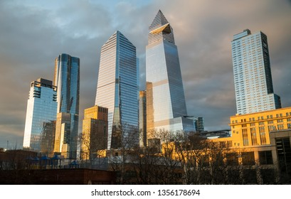 New York NY/USA_March 31, 2019 10 Hudson Yards, center left, 30 Hudson Yards, center right, and other development around Hudson Yards in New York