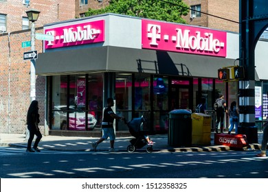 New York NY/USA_September 21, 2019 T-Mobile store in the busy Jackson Heights neighborhood in Queens in New York