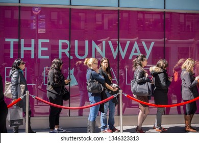 New York NY/USA-April 1, 2014 Shoppers line up at the Rent The Runway sample sale in New York