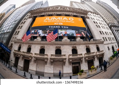New York NY/USA-April 12, 2019 The New York Stock Exchange in Lower Manhattan in New York is decorated with a banner for the Jumia initial public offering
