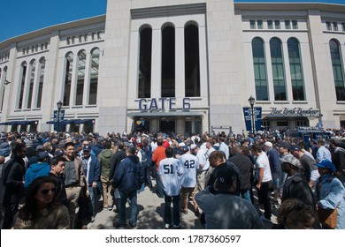New York NY/USA-April 13, 2012 Thousands of fans arrive for the home opener at Yankee Stadium in the New York borough of The Bronx
