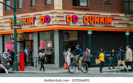 New York NY/USA-April 14, 2019  A Dunkin' Donuts franchise in Midtown in New York