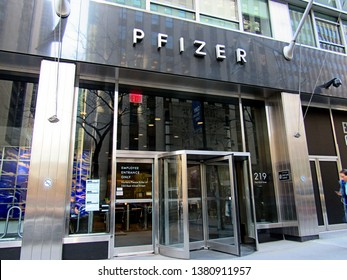 New York, NY/USA-April 15, 2016: The 42nd Street entrance to the corporate headquarters of Pfizer in midtown Manhattan.