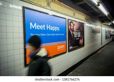 New York NY/USA-April 26, 2019 Advertising on the subway in New York for Zoom Video Communications, a tech company facilitating videoconferencing