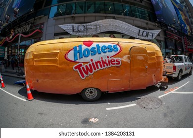 New York NY/USA-April 29, 2019 Hostess Brands LLC ÒTwinkiemobileÓ in Times Square in New York celebrating theÓSweetennialÓ of the iconic snack company