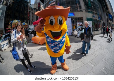 New York NY/USA-April 29, 2019 Hostess Brands LLC ÒTwinkie KidÓ in Times Square in New York celebrating theÓSweetennialÓ of the iconic snack company