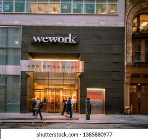 New York NY/USA-April 30, 2019  A sign announces the location of a a WeWork co-working space location in Midtown Manhattan in New York