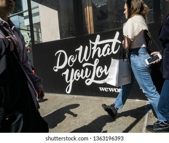 New York NY/USA-April 6, 2019  A sign announces the location of a a WeWork co-working space location in Little Italy in New York