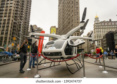 New York NY/USA-August 13, 2018  A Workhorse SureFly electric helicopter on display at a branding event in Flatiron Plaza in New York