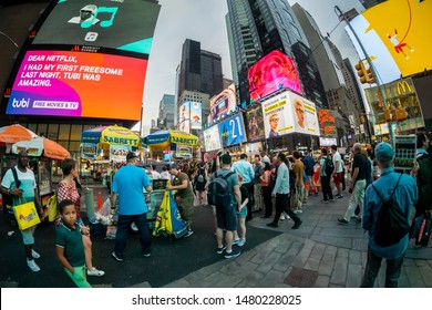 New York NY/USA-August 13, 2019 Hordes of tourists descend on  Times Square in New York