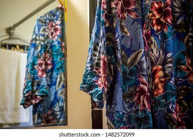 New York NY/USA-August 17, 2019 Hand-washed Hawaiian shirt hanging to dry in New York