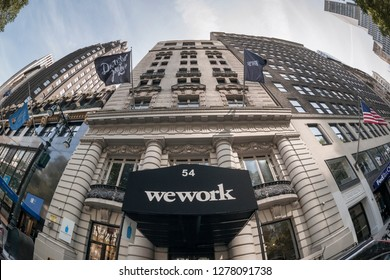 New York NY/USA-August 27, 2017 The entrance to a WeWork co-working space location in the Bryant Park area in New York