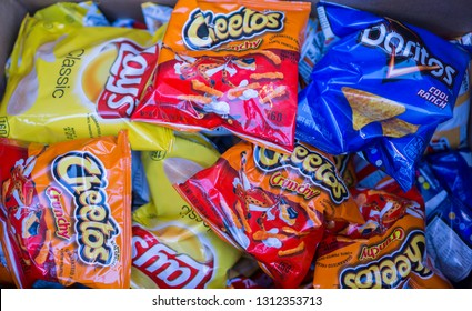 New York NY/USA-August 31, 2017 A display of tasty Frito-Lay brand chips and snacks in a supermarket in New York