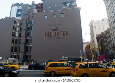 New York NY/USA-August 4, 2009 A mural promotes Abercrombie & FitchÕs Hollister store at Houston Street in Soho in New York