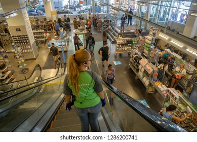 New York NY/USA-August 4, 2018  Nordstrom Rack off-price store employee on the escalator in the Herald Square New York store