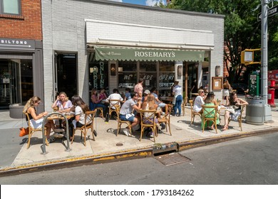New York NY/USA-August 8, 2020 Al fresco dining at a restaurant in the Greenwich Village neighborhood of New York