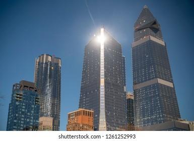 New York NY/USA-December 18, 2018 10 Hudson Yards, center, 30 Hudson Yards, right, and other development around Hudson Yards in New York