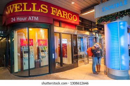 New York NY/USA-December 20, 2016   An ATM only branch of Wells Fargo in New York