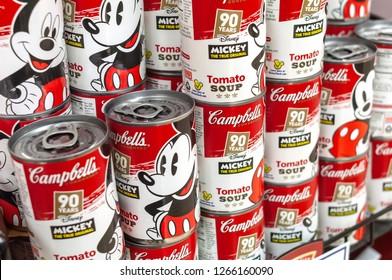 New York NY/USA-December 23, 2018 Commemorative Mickey Mouse 90th Anniversary cans of Campbell's Tomato Soup in a supermarket in New York