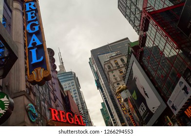 New York NY/USA-December 24, 2018 The Regal Cinemas in Times Square in New York