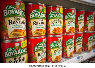New York NY/USA-December 29, 2011 Cans of ConAgra's Chef Boyardee canned ravioli and other products are seen on a a supermarket shelf