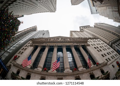 New York NY/USA-December 31, 2018 The New York Stock Exchange in Lower Manhattan on the last day of trading for 2018.