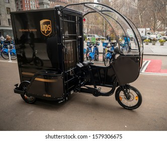New York NY/USA-December 4, 2019 UPS branded cargo bike is demonstrated at a media event.