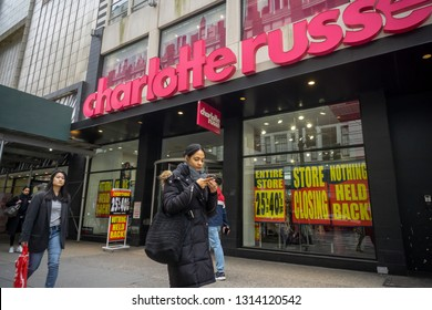 New York NY/USA-February 15, 2019 The Charlotte Russe store in Herald Square in New York