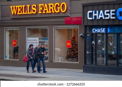 New York NY/USA-January 1, 2019 A Wells Fargo bank branch next to a branch of JP Morgan Chase in Greenwich Village in New York