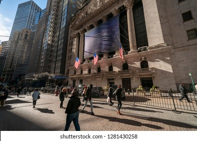 New York NY/USA-January 11, 2019 The New York Stock Exchange in Lower Manhattan is decorated promoting the innovations of the General Motors Company