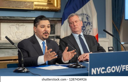 New York NY/USA-January 17, 2019 NY Mayor Bill de Blasio, right, and Richard A. Carranza, Dept. of Education Schools Chancellor at a press conference in the Blue Room in NYC Hall