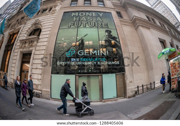 New York NY/USA-January 18, 2019 An advertisement for the Winklevoss brothers' Gemini Cryptocurrency Exchange on Wall Street in New York