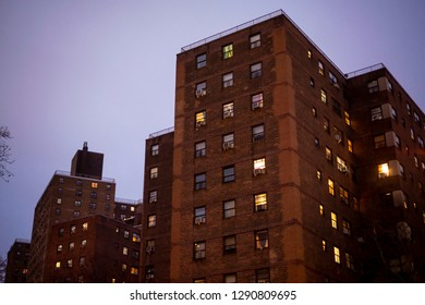 New York NY/USA-January 19, 2019 The massive NYCHA Elliot Houses complex of apartments in Chelsea in New York