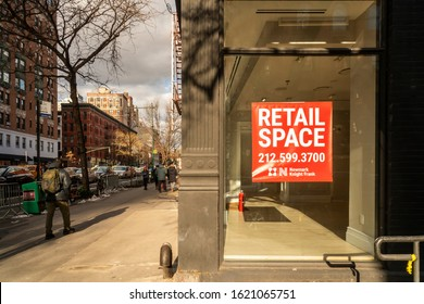New York NY/USA-January 19, 2020 Vacant real estate in the Upper West Side neighborhood of New York