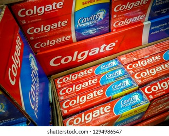 New York NY/USA-January 25, 2019 A display of Colgate toothpaste in a supermarket in New York.