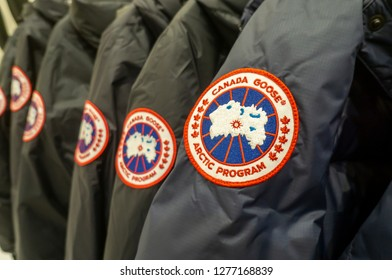 New York NY/USA-January 5, 2019 Canada Goose brand parkas in a store in New York