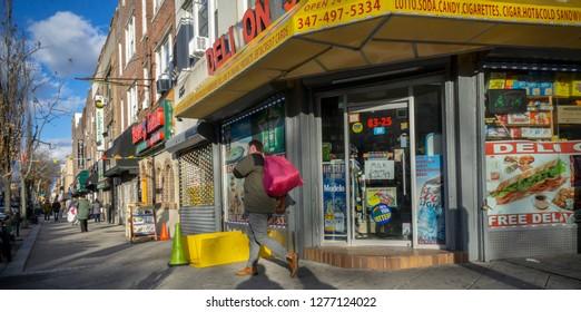 New York NY/USA-January 6, 2019 A deli in the Bay Ridge neighborhood of Brooklyn in New York