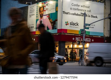 New York NY/USA-January 7, 2019 Billboards advertise the popular collaboration tool Slack in the Chelsea neighborhood of New York