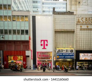 New York NY/USA-July 2, 2019 A T-Mobile USA store in the Herald Square neighborhood in New York